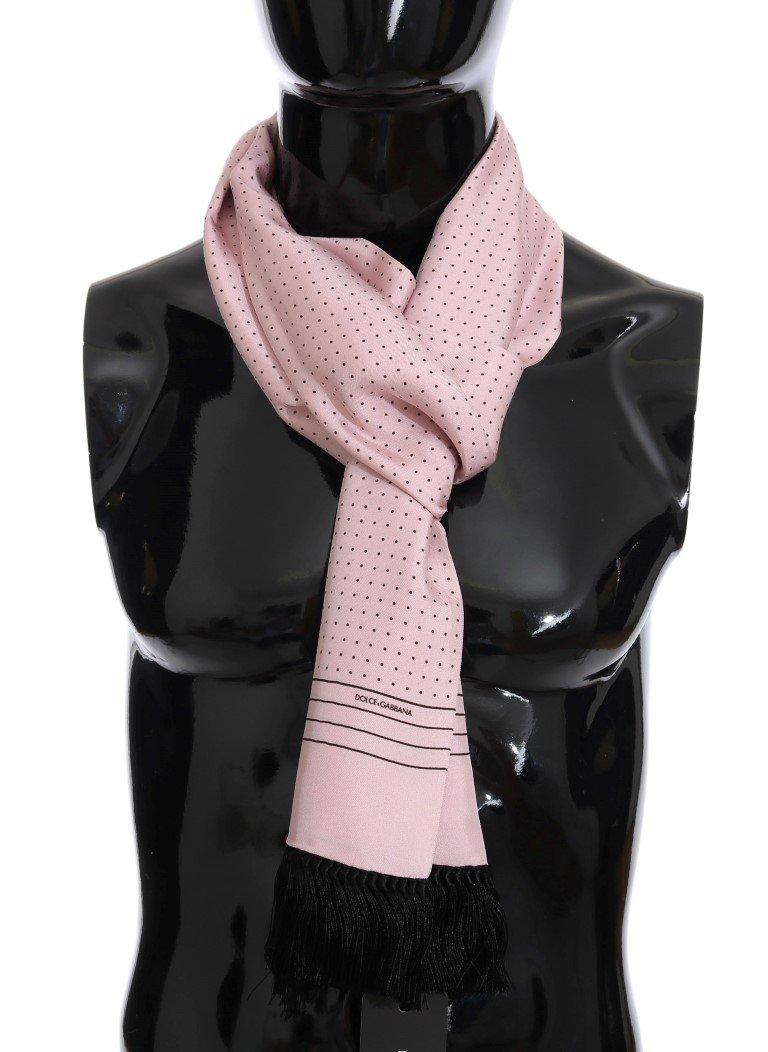 Dolce & Gabbana Men's Silk Polka Dot Scarf Pink MS2251