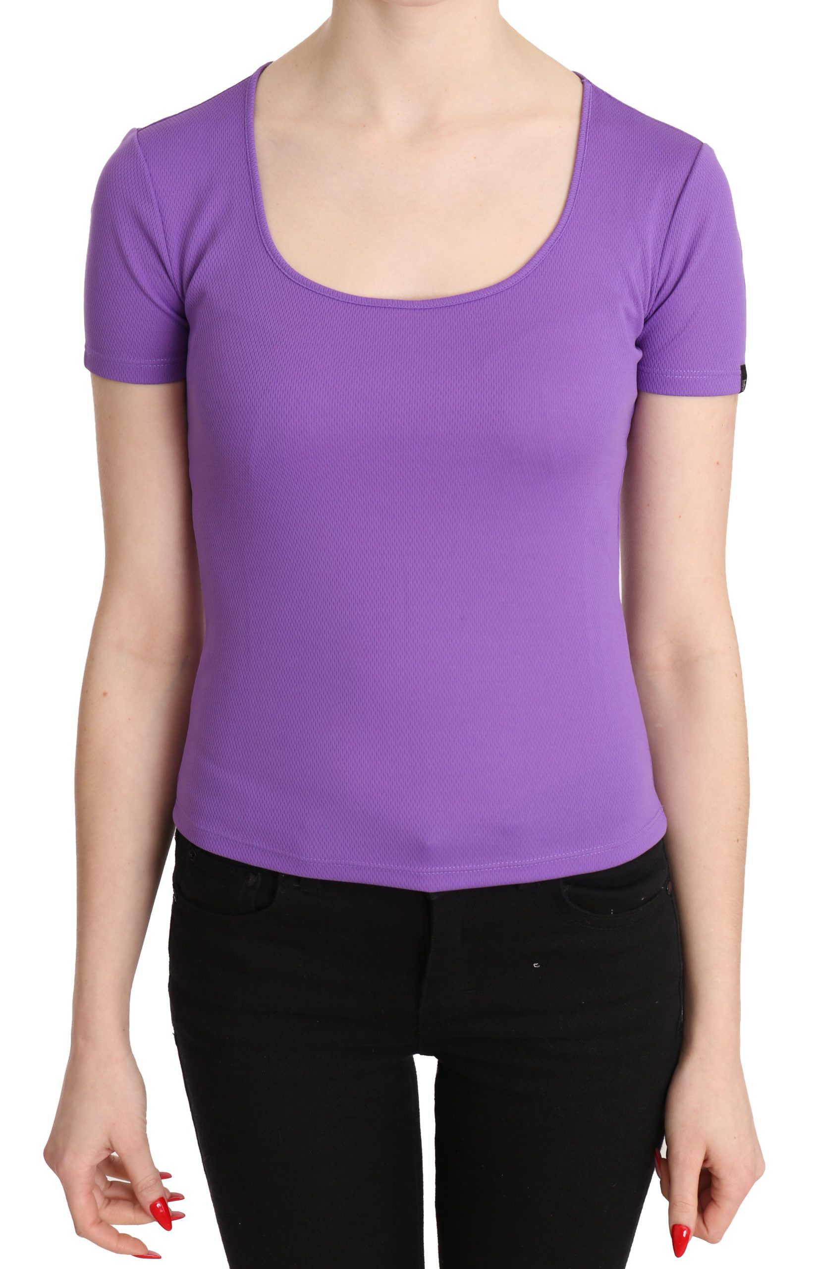 GF Ferre Women's Polyester SS Top Purple TSH3424 - IT40 S