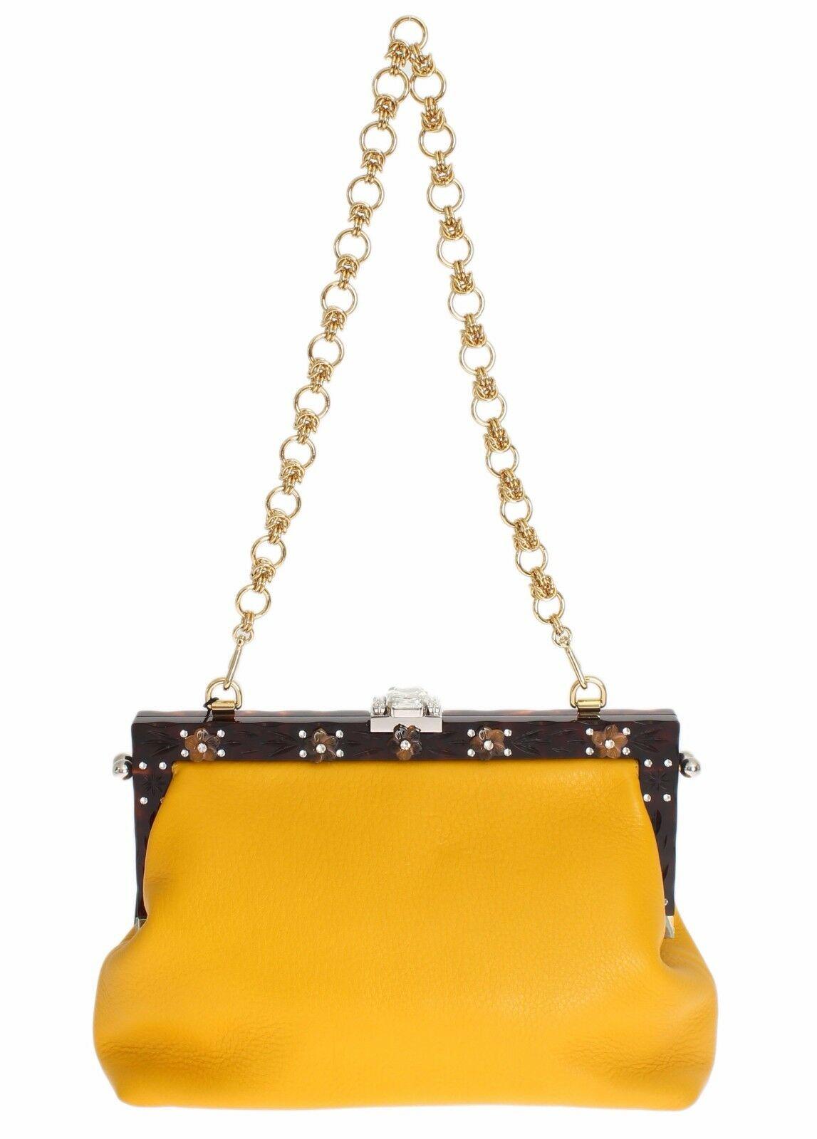 Dolce & Gabbana Women's Leather Crystal Shoulder Bag Yellow BOR10055