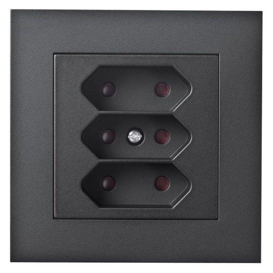 Elko Plus 3-V Inf Euro Skruv Seinäpistorasia 3-osainen, ruuviliitäntä musta