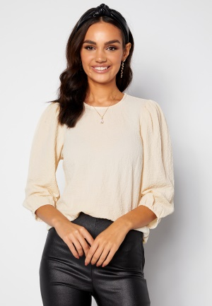 Happy Holly Fredrika puff sleeve blouse Winter white 36/38