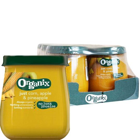 """Laatikollinen Luomu Lastenruokaa """"Corn, Apple & Pineapple"""" 6 x 120g - 21% alennus"""