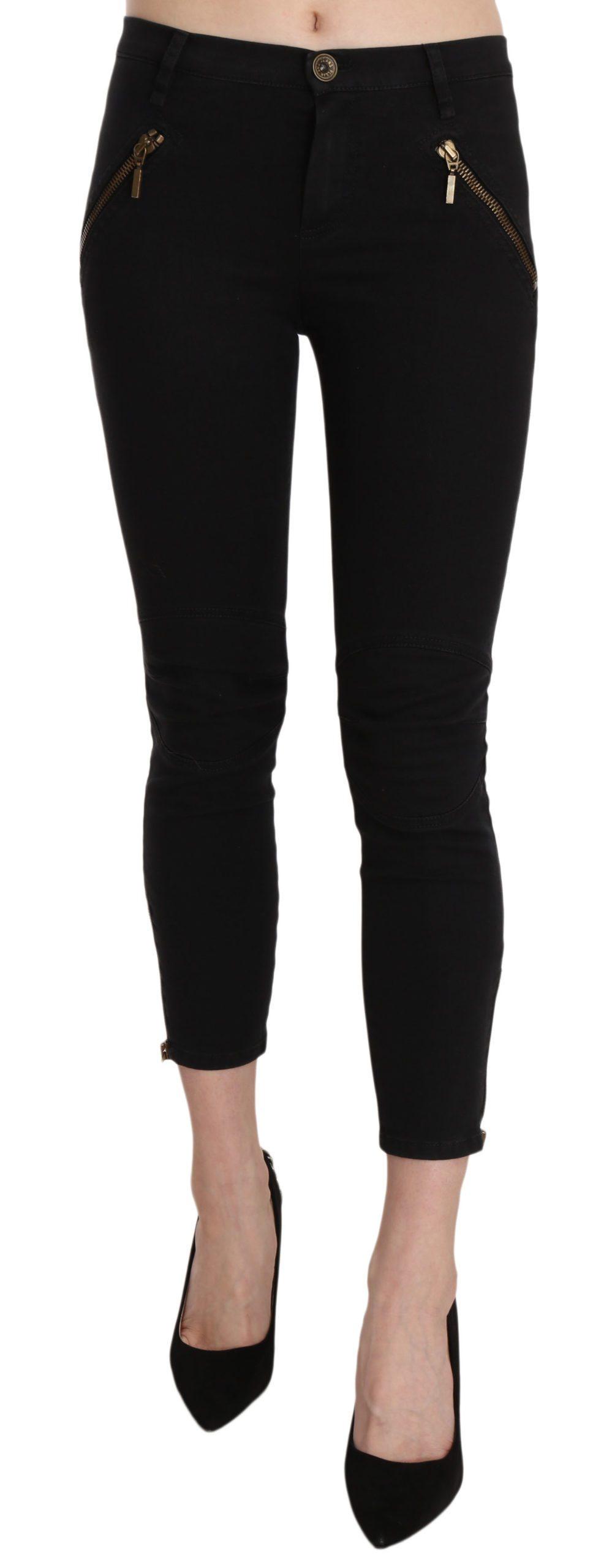 PLEIN SUD Women's Low Waist Skinny Cropped Trouser Black PAN70251 - IT36   XS