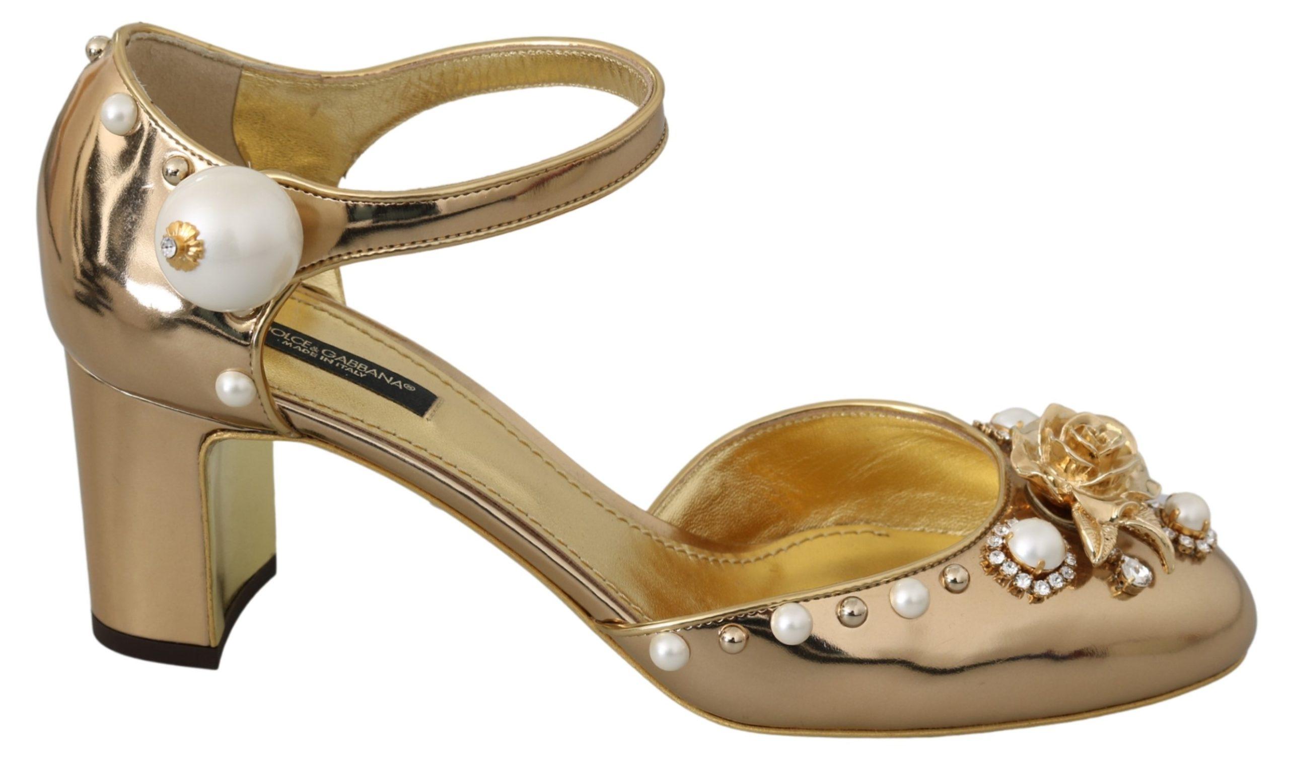Dolce & Gabbana Women's Pearls Ankle Strap Leather Sandal Gold LA6850 - EU39/US8.5