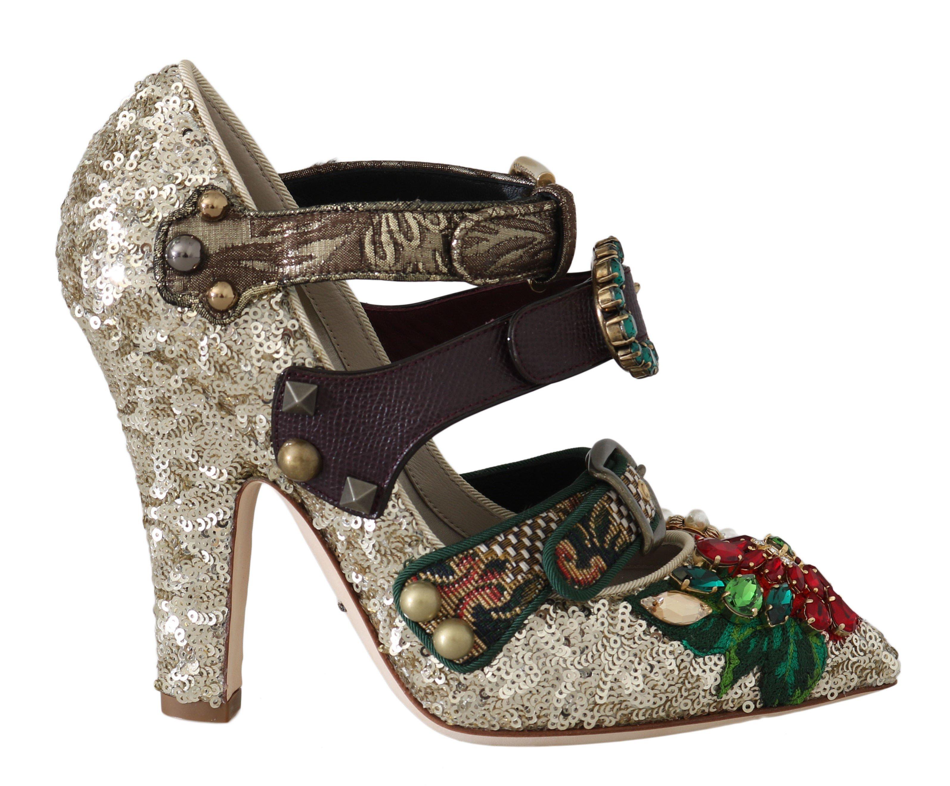 Dolce & Gabbana Women's Sequined Crystal Studs Heels Gold LA5661 - EU39.5/US9
