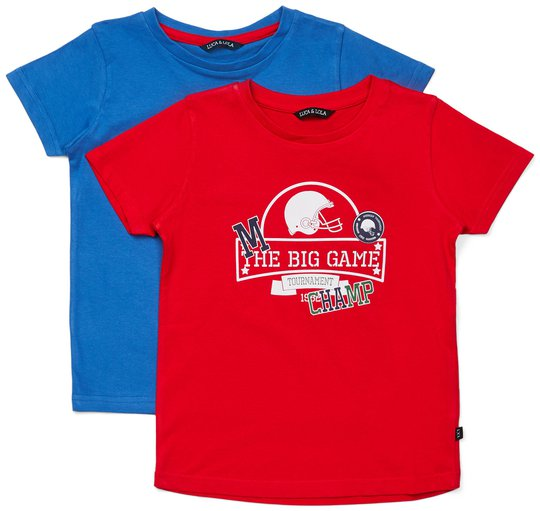Luca & Lola San Marino T-Shirt 2-pack, Red/Blue 86-92