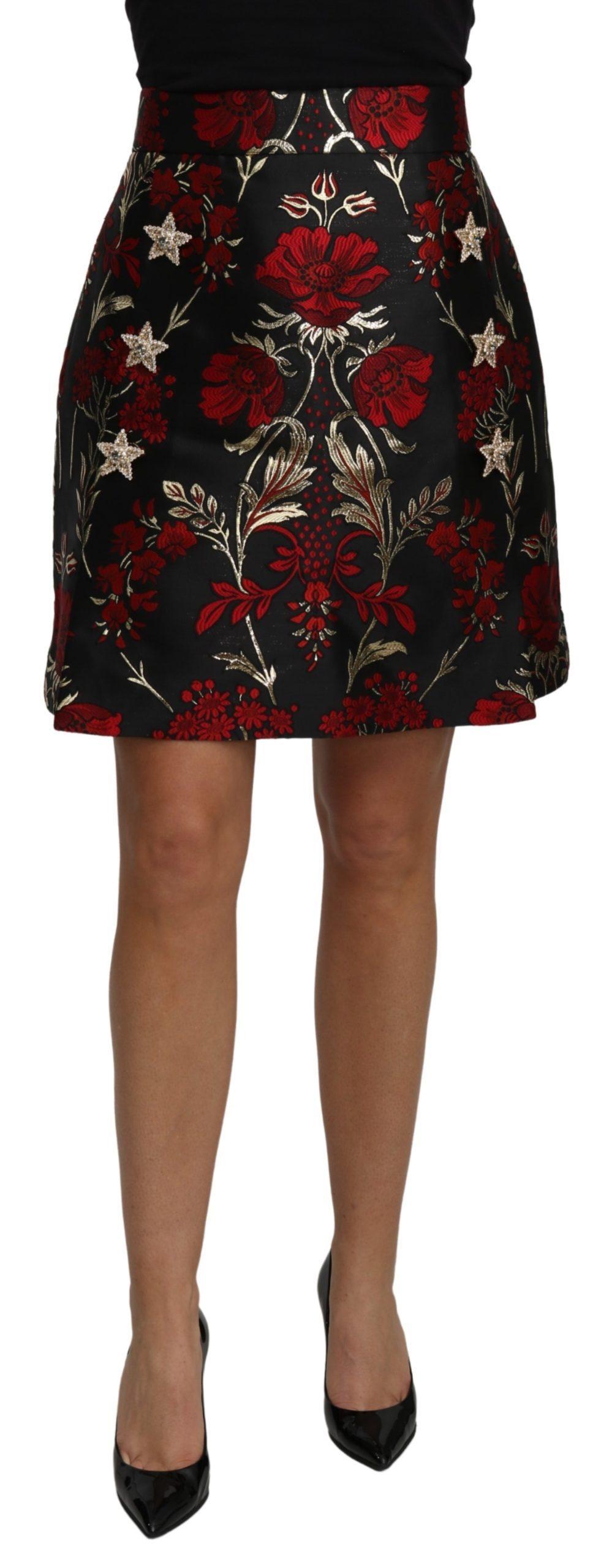 Dolce & Gabbana Women's Floral Jacquard High Waist Mini Skirt Black SKI1464 - IT44 L