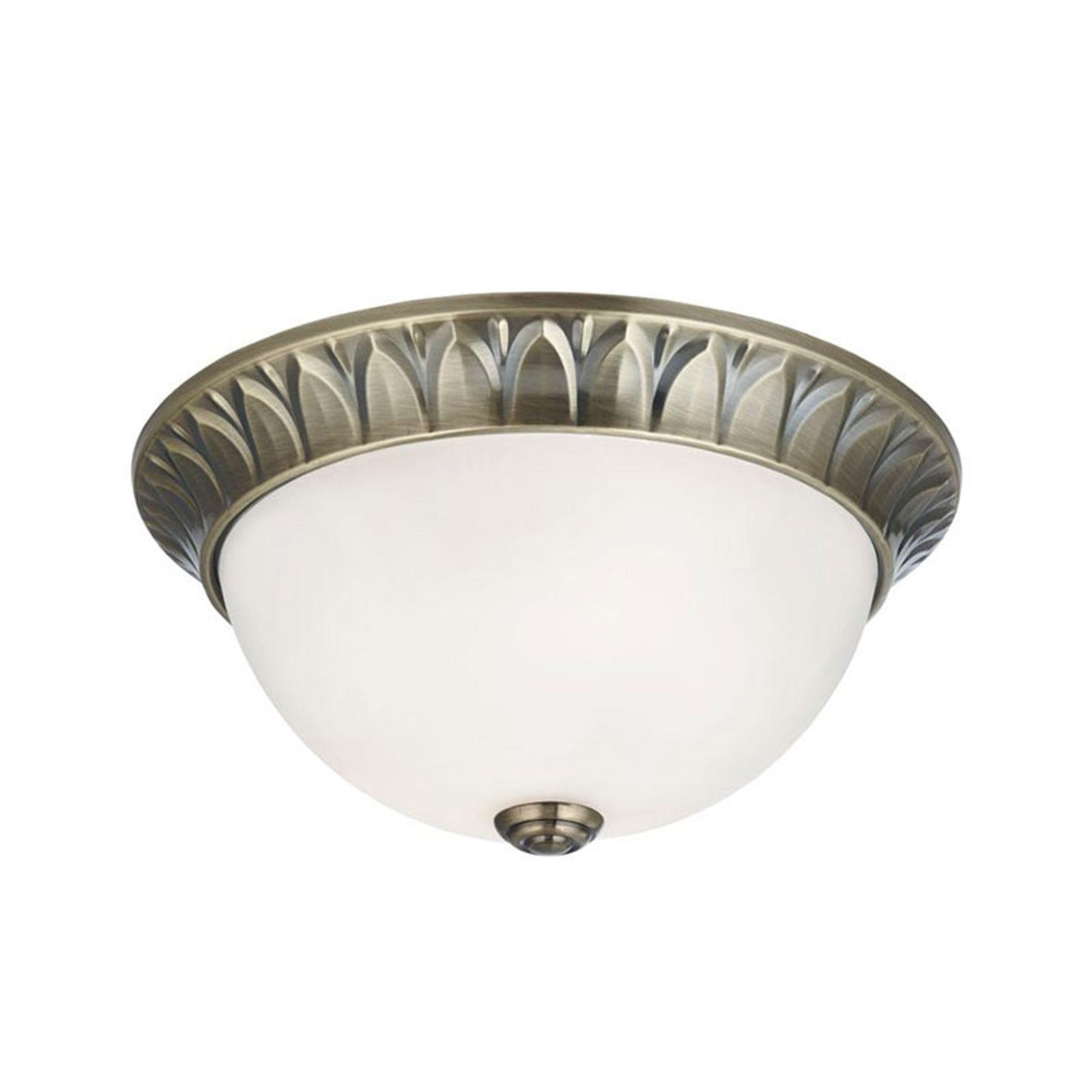 Glass-taklampe Flush messing antikk, Ø 28 cm