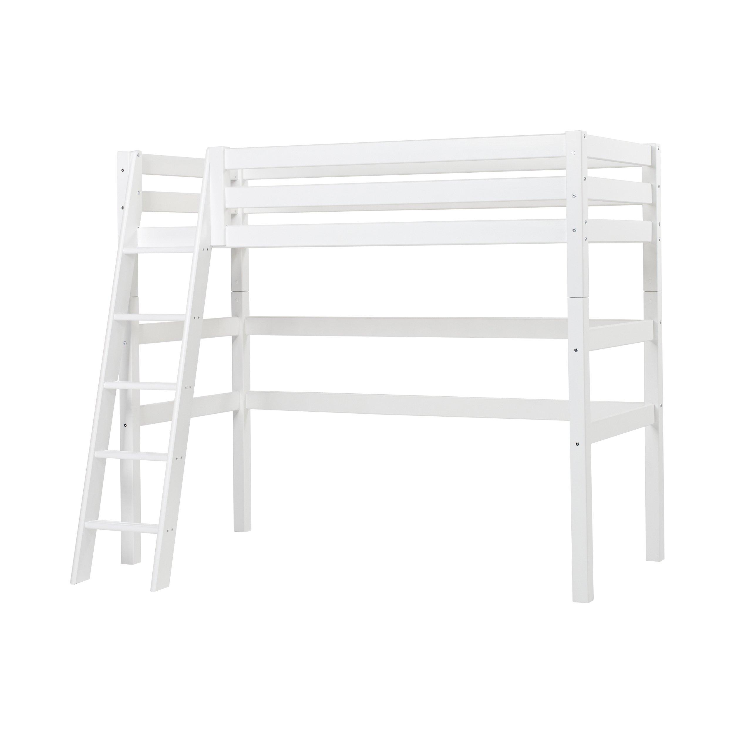 Hoppekids - PREMIUM High sleeper 90x200cm w. Slant Ladder - White