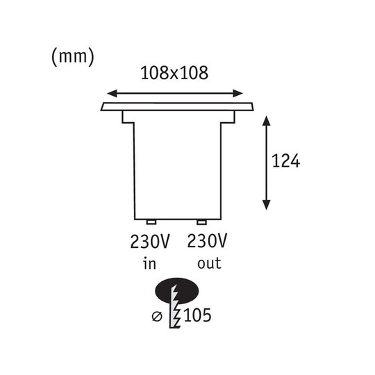 Paulmann 93993 innfelt LED-gulvlampe, kantet