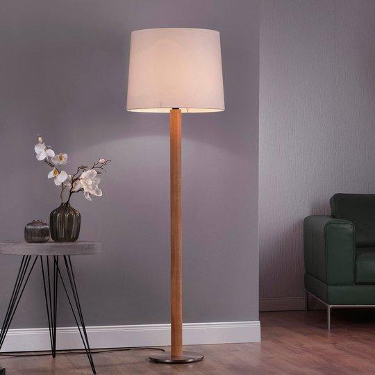 Lucande Elif gulvlampe hvit, sylinder eik natur