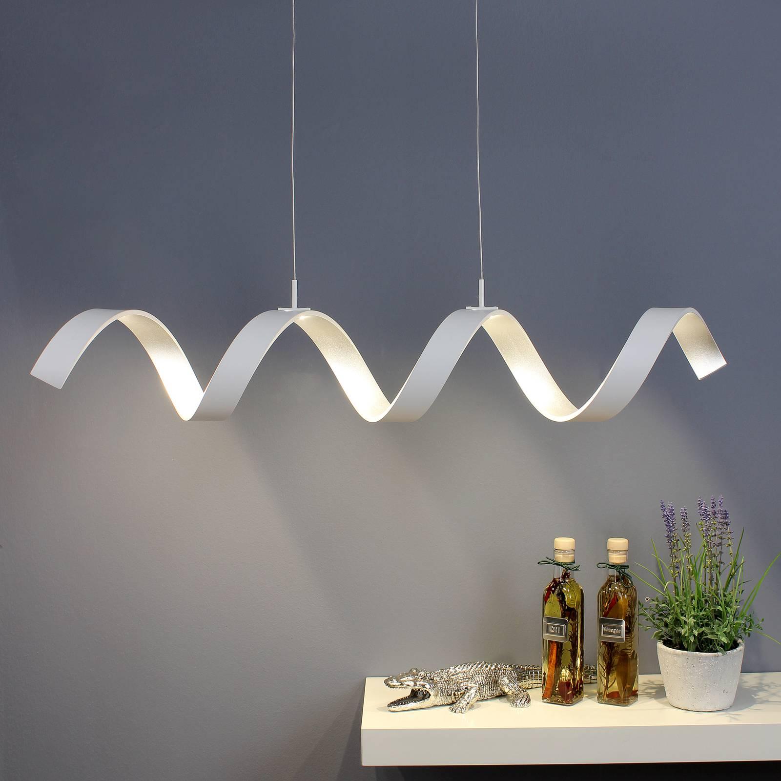 LED-riippuvalaisin Helix, valkoinen-hopea, 80cm