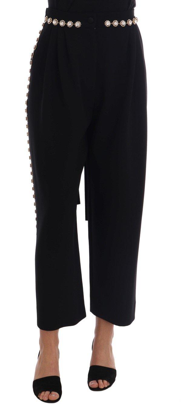 Dolce & Gabbana Women's Wool Stretch Crystal Trouser Black PAN60786 - IT38|XS