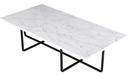 Ninety Table XL – Carrara marmor/svartlakkert metallunderstell H40 cm