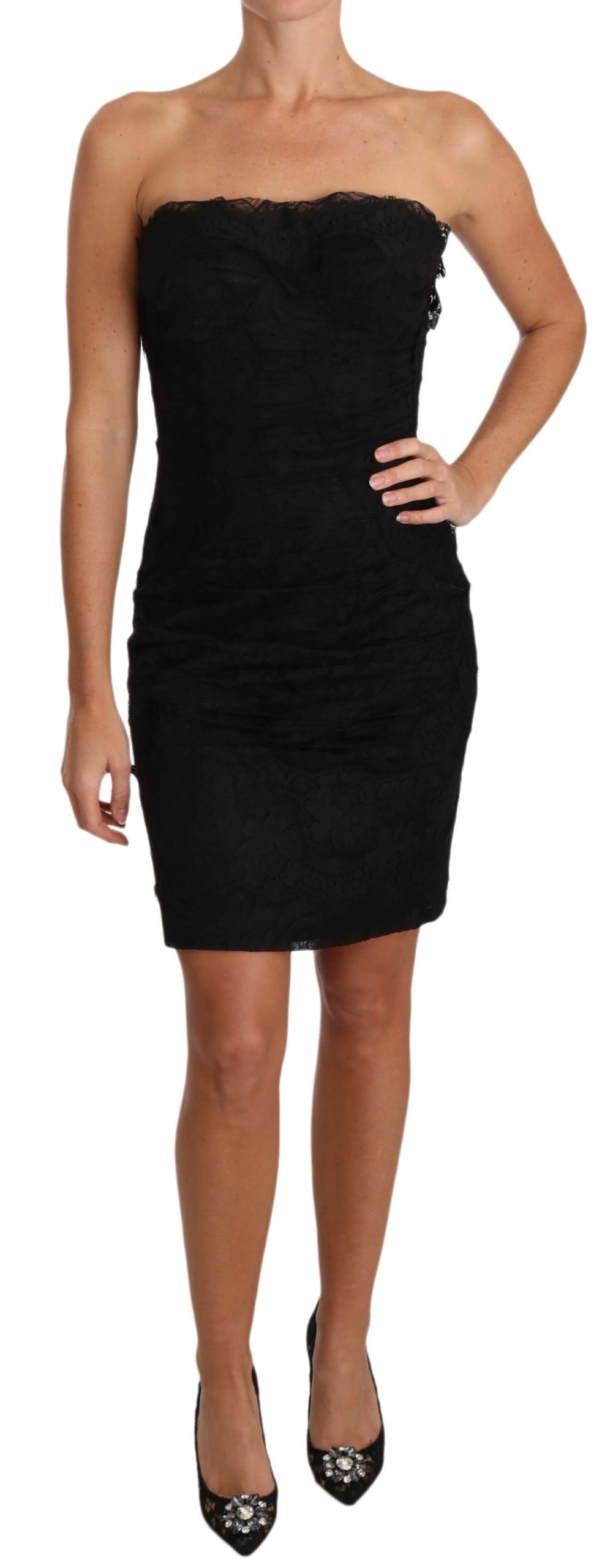 Dolce & Gabbana Women's Lace Strapless Mini Dress Black DR2021 - IT42|M