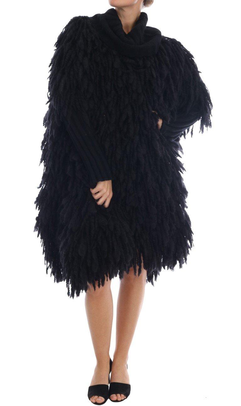 Dolce & Gabbana Women's Fringes Wool Pullover Sweater Black KOS1131 - IT40|S