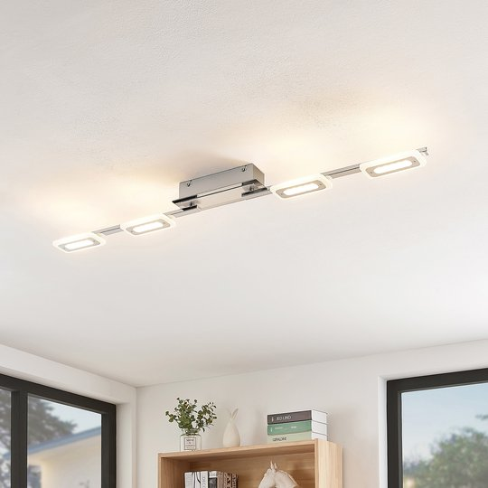 Lindby Silvanos -LED-kattovalo kromia, 4-lamp.