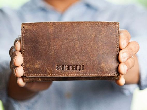 Leather Tri Fold Smartphone Wallet Brown
