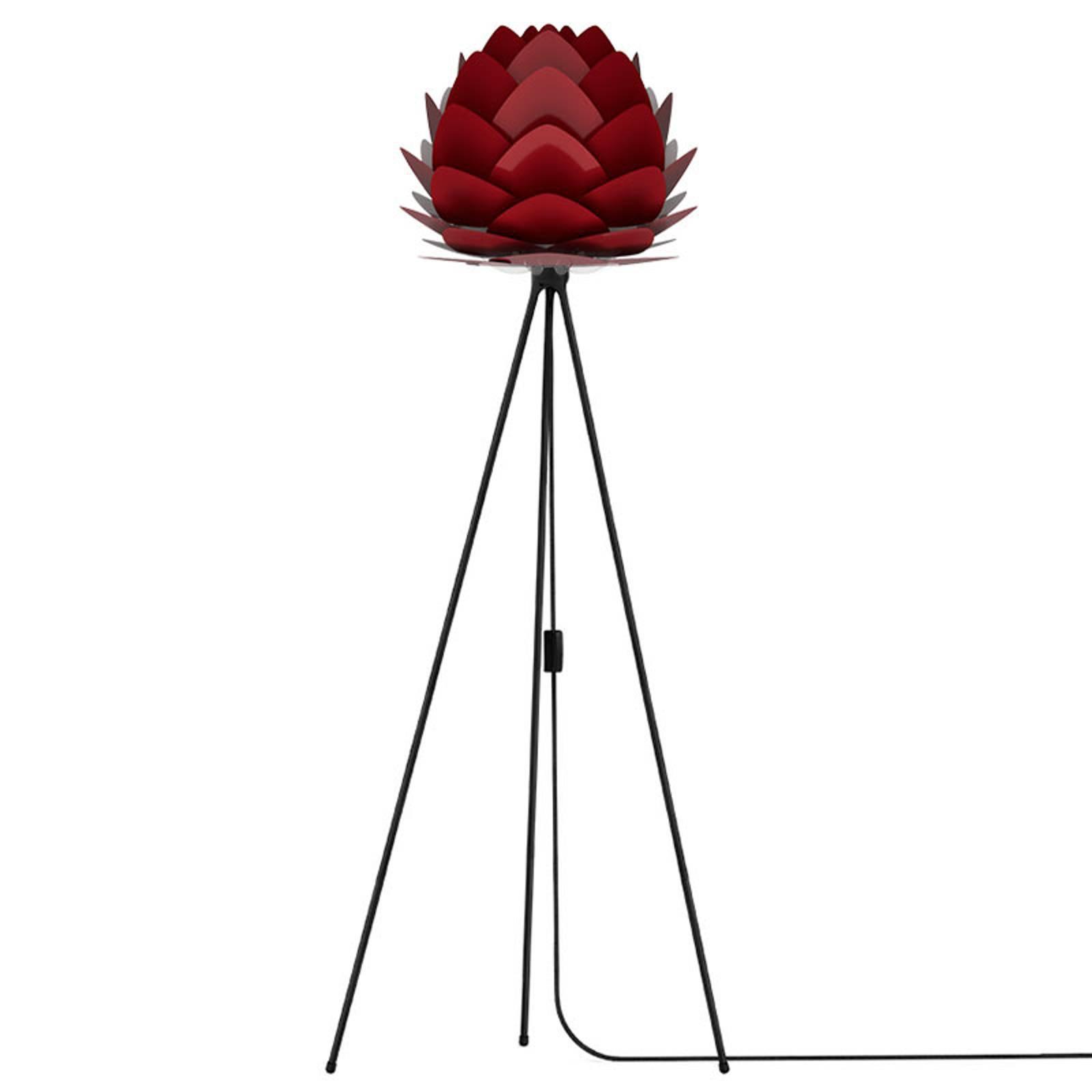 UMAGE Aluvia mini-gulvlampe svart/rubinrød
