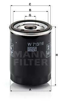 Öljynsuodatin MANN-FILTER W 713/16