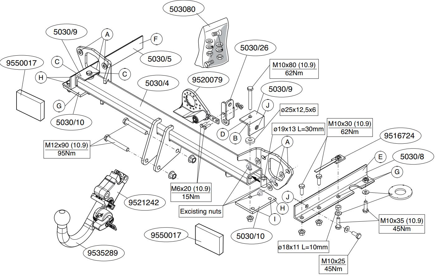 Vetokoukku BRINK 503000 Subaru Forester '08-13