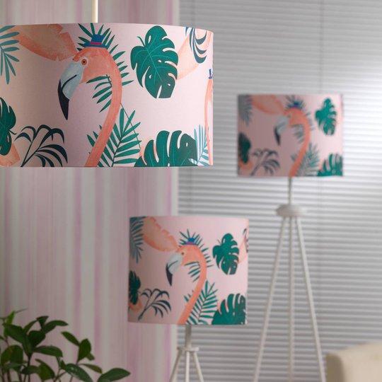 Flamingo bordlampe med tekstilskjerm, høyde 34 cm