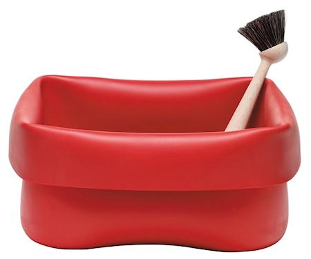Oppvaskbalje med børste Rød