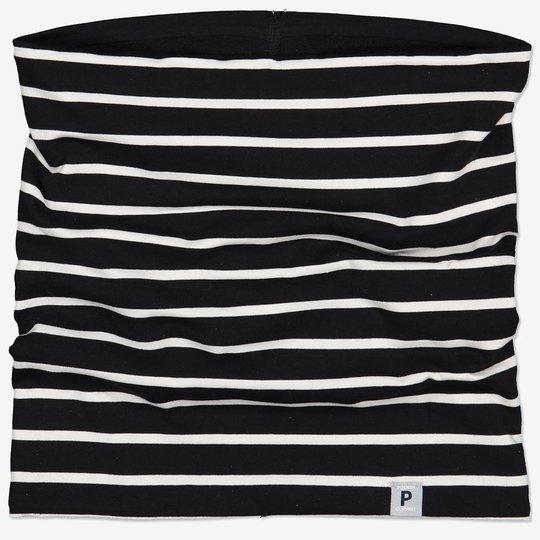 Stripet polokrage med fleecefôr svart