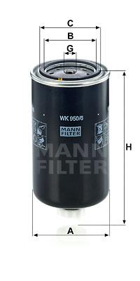 Polttoainesuodatin MANN-FILTER WK 950/6