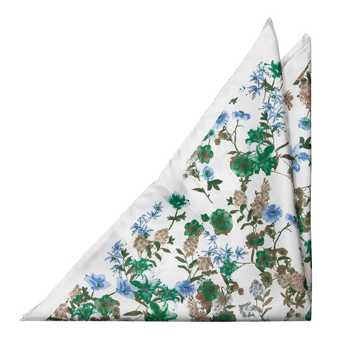 Silke Lommetørkler, Grønne, blå og beige blomster på hvitt, Hvit, Blomstrete