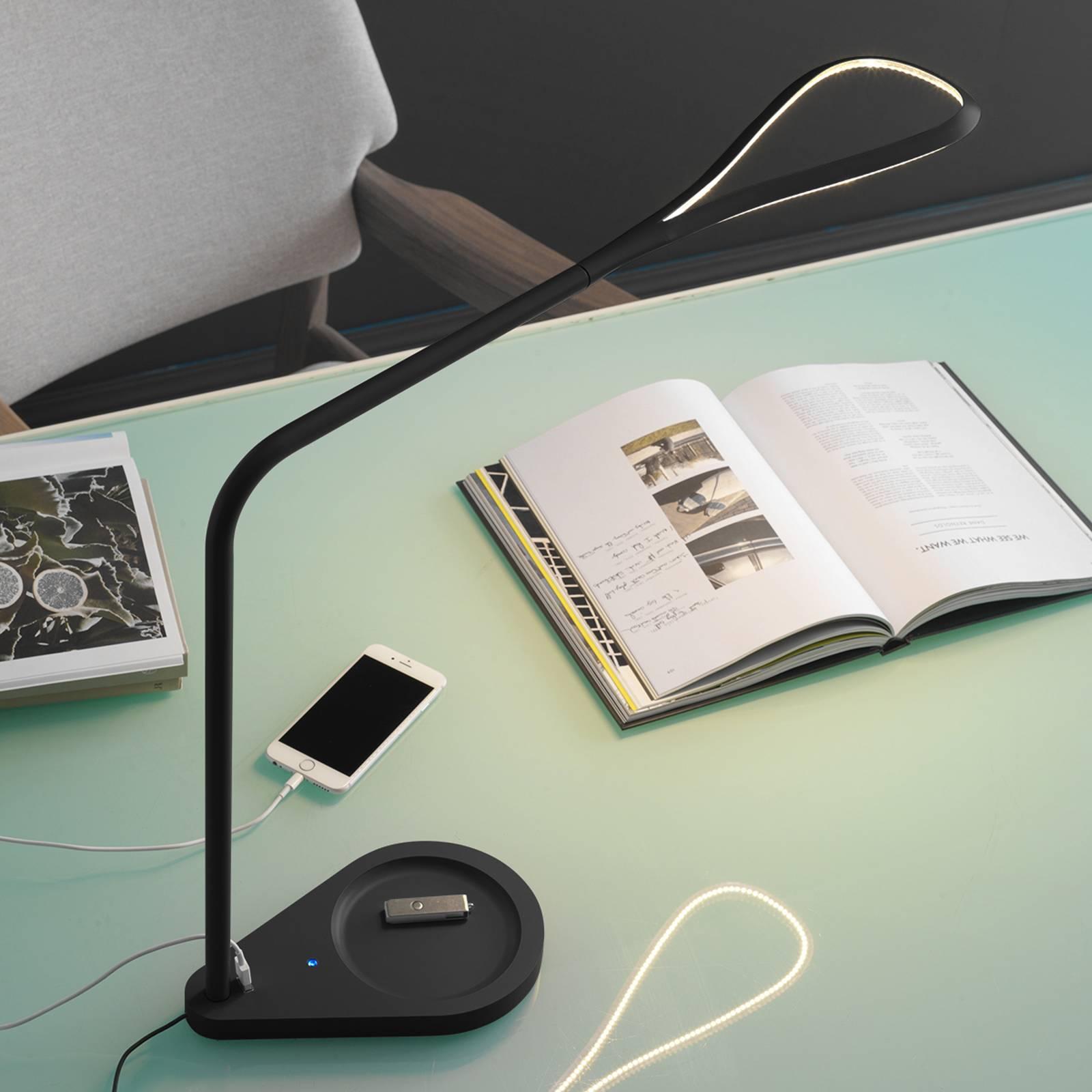 Fontana Arte Kinx -LED-työpöytälamppu, musta