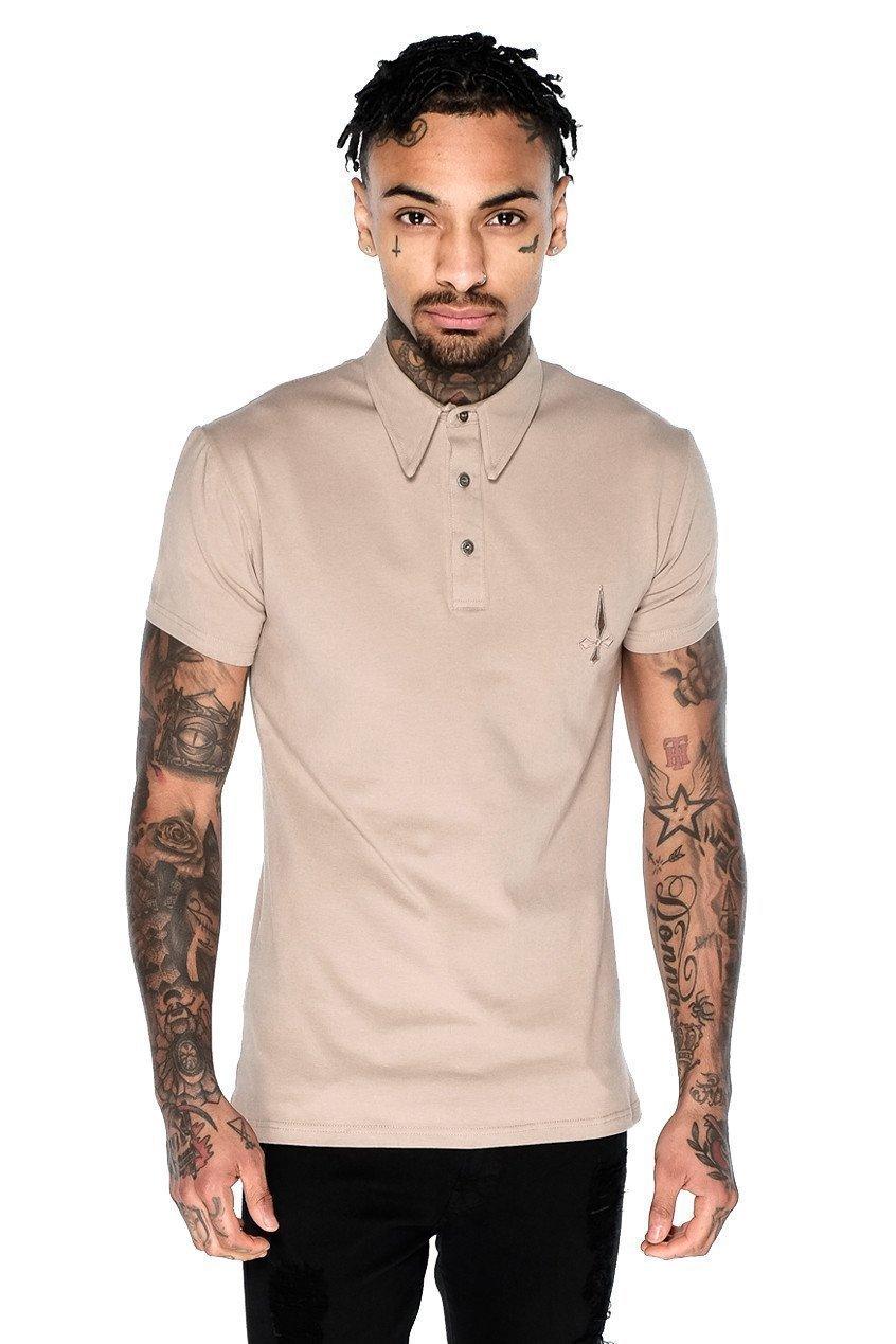 Short Sleeved Men's Polo Shirt - Caramel, Small