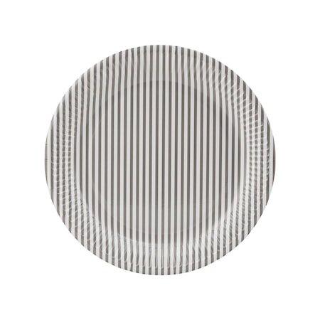 Papptallerkener Stripe 01 Lysegrå
