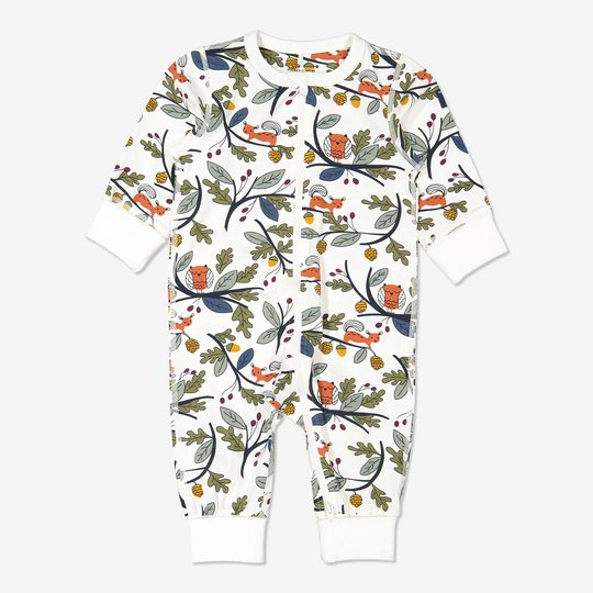 Hel pyjamas med eikenøtt-trykk baby hvit