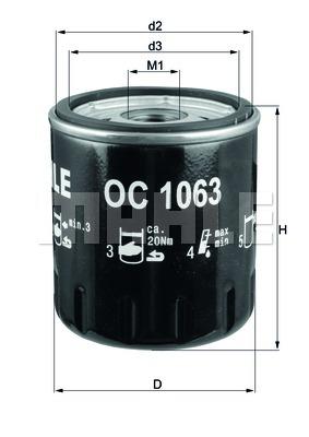 Öljynsuodatin MAHLE ORIGINAL OC 1063