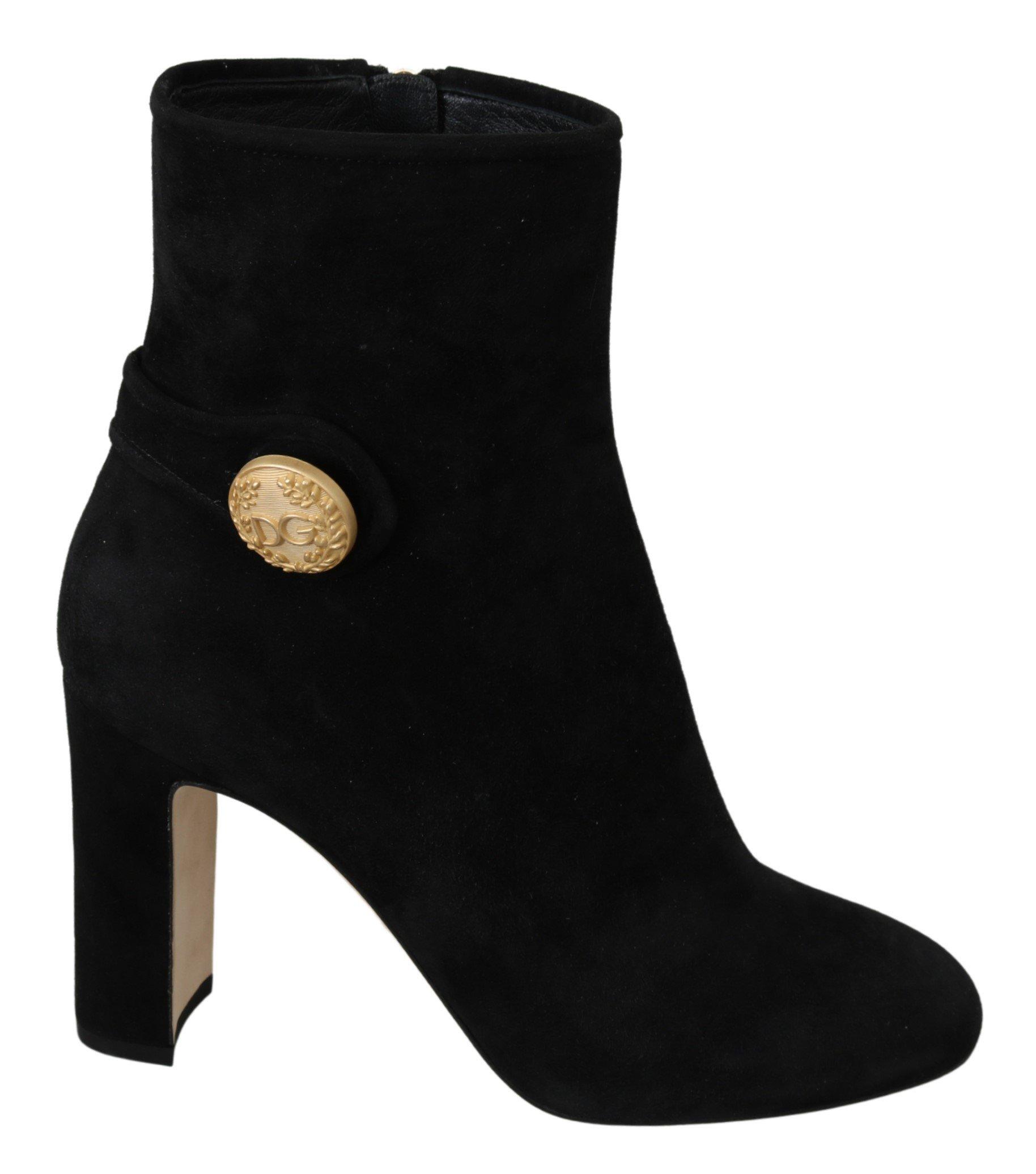 Dolce & Gabbana Women's Suede DG Logo Boots Black LA7047 - EU39/US8.5