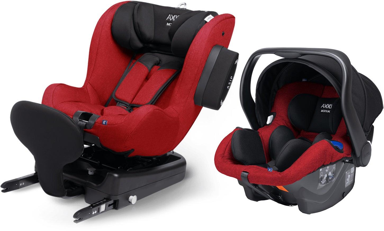 Axkid Modukid Seat Bilbarnstol, Red + Infant Babyskydd Inkl. Bas
