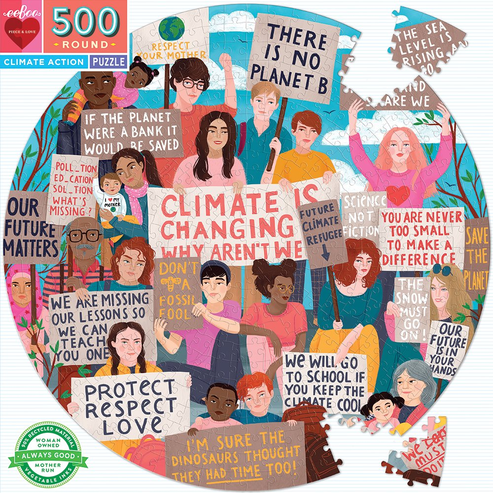 eeBoo - Round Puzzle - Climate Action, 500 pc (EPZFCLM)
