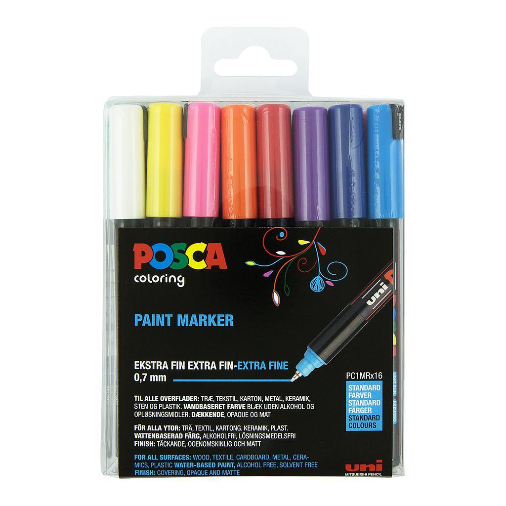 Posca - PC1MR - Extra Fine Tip Pen - Basic Colors, 16 pc