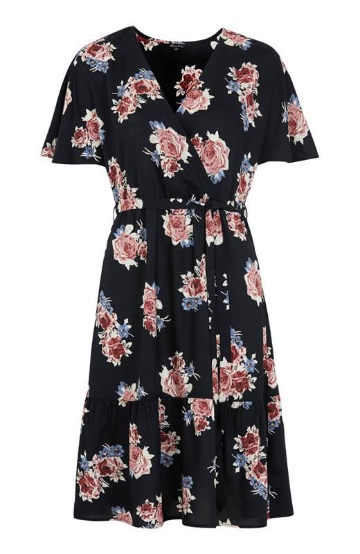 Happy Holly Blommig viskosklänning Olivia Svart Mönstrad