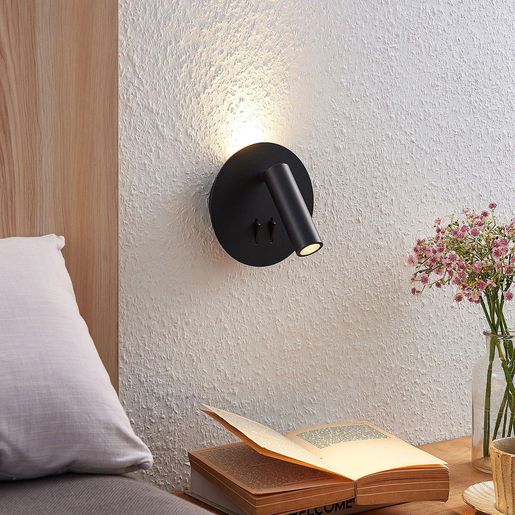 Lucande Magya LED-vegglampe svart 2 lyskilder rund