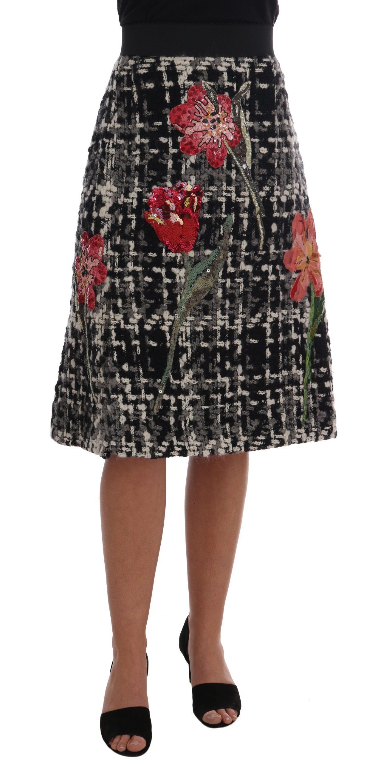 Dolce & Gabbana Women's Wool Sequined Roses Skirt Black SKI1129 - IT46 XL