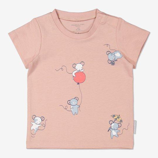 T-skjorte med trykk baby rosa