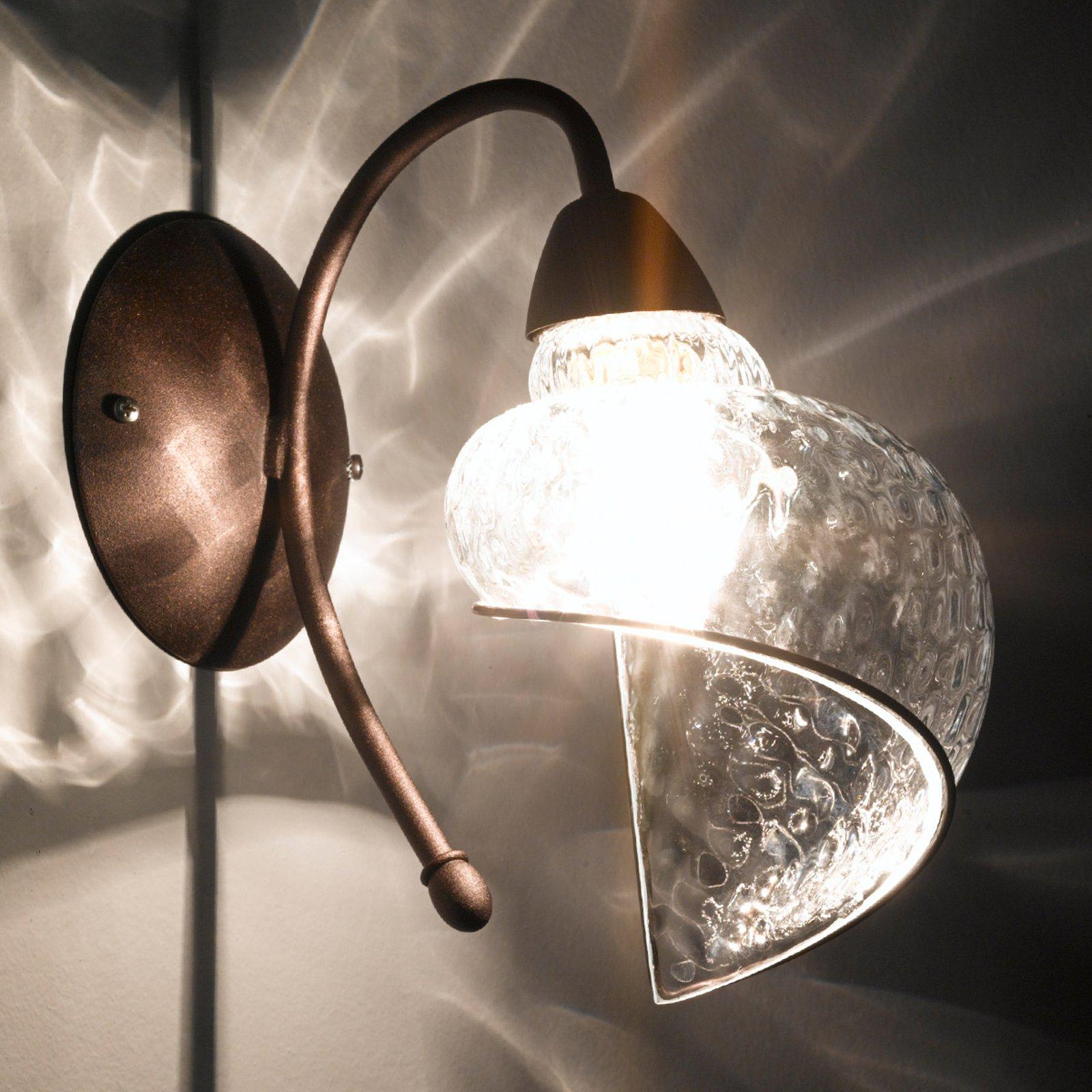 Vegglampe Chiocciola bronse, klart glass