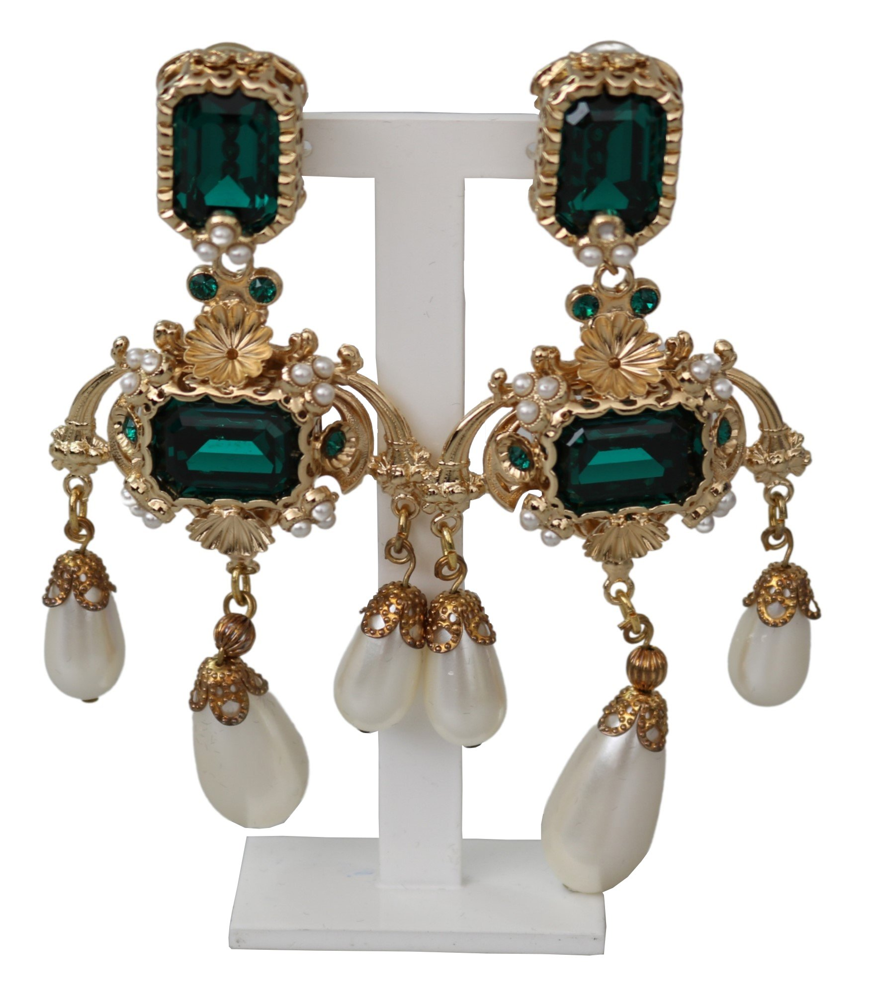 Gold Brass Green Filigree Crystal Charms Dangle Clip-on Earrings