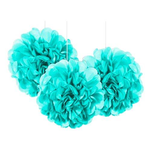 Pom Pom Mini Ljusblå Hängande Dekoration - 3-pack