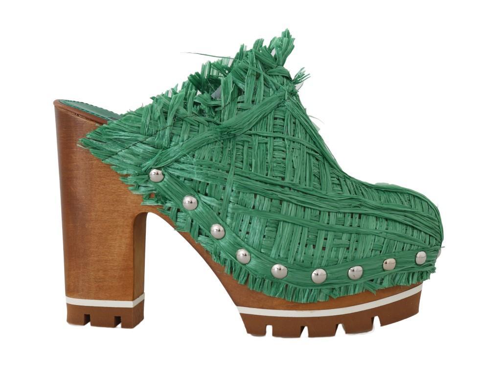 Dolce & Gabbana Women's Raffia Mules Wood Wedges Green LA4827 - EU39/US8.5