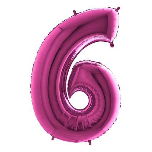 Sifferballong Rosa Metallic - Siffra 6