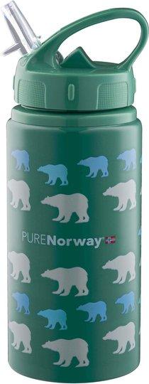 Pure Norway Go Drikkeflaske i Aluminium Isbjørn 500ml, Grønn
