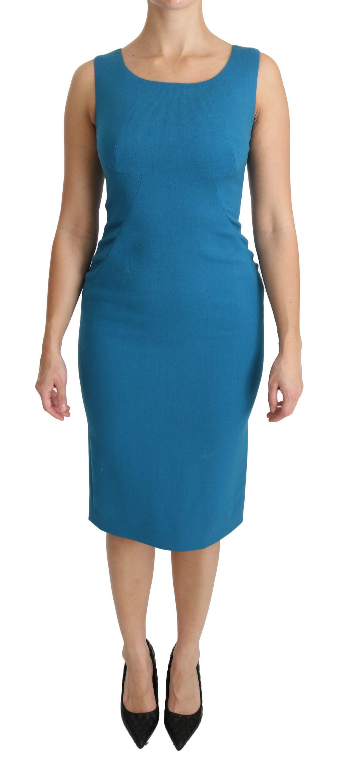Dolce & Gabbana Women's Sheath Knee Length Wool Dress Blue DR2161 - IT36 XXS